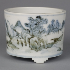 A Rare Dehua Blue & White Table Tripod Censer