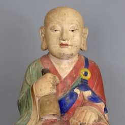 Korean Gesso & Painted Wood Figure of a Seated Monk