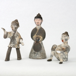 Three Painted Gray Pottery Entertainers