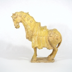 Straw Glazed Pale Pottery Caparisoned Horse