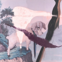 Large format inkjet and oil on polyester painting of a goat looking off a cliff by Julian Schnabel