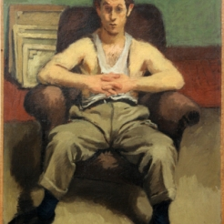 Painting in muted colors of a young man seated in a maroon, plush armchair. He is wearing a loose white tank top that has sunk to only cover the very middle part of his chest. He is wearing green work pants with heavily defined creases, and has linked his hands together above his stomach.