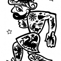 Black line cartoon-like drawing of a smiling man walking animatedly towards the left with a profile view of his face towards us. On the man's body there are drawings of various aspects of nature and animals.