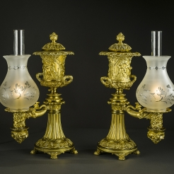 Pair Argand Lamps