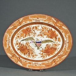 Chinese Export Porcelain Oval Platter in Orange Fitzhugh with Striped Shield and Sepia Eagle