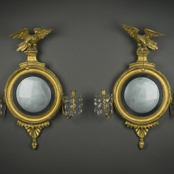 Pair Diminutive Girandole Mirrors with Candlearms