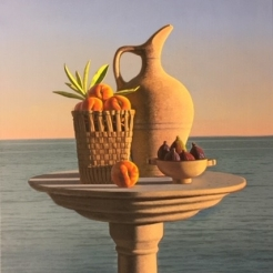a tabletop still life of peaches, figs and a ceramic pitcher by calm ocean water