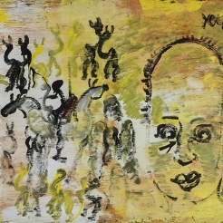 a painting by self-taught artist Purvis Young of a figure surrounded by Zulu riders and ants