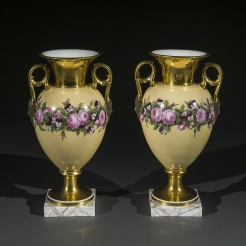"Pair ""Old Paris"" Porcelain Vases with Yellow Ground and Garlands of Flowers"