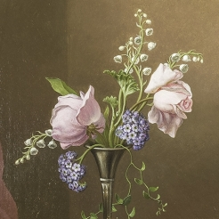 "MARTIN JOHNSON HEADE (1819–1904), ""Victorian Vase with Flowers of Devotion,"" about 1871–80. Oil on canvas, 18 x 10 in. Detail."