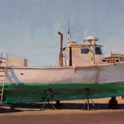 "Image of Peter Poska's ""Green Hull,"" oil on panel, 7 1/2 by 14 1/2 inches, painted in 2012."