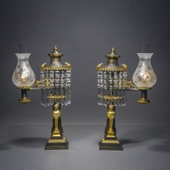 Pair Argand Lamps with Herm Figures