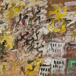 a paint and wood assemblage of dancing figures, horses and buildings by Self-taught artist Purvis Young