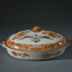 Covered Hot Water Vegetable Dish in Orange Fitzhugh with Sepia Eagle