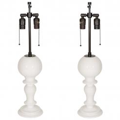 Pair of Italian White Ceramic Lamps Globe /Pedestal Style Base
