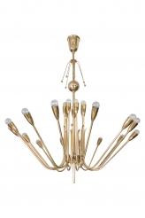 A Large Brass Multi-arm Chandelier