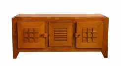 Large Oak Sculpted Front Sideboard by Charles Dudouyt