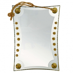 Rectangular Cut and Gilt Glass Mirror with Rope