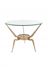Glass and Bronze Round Table by Cesare Lacca
