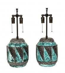 Pair of rare  Art Deco lamps by l'Atelier la Maitrise