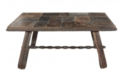 French Wrought Iron and Tiled Stone Rectangular Coffee Table