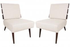 Pair of T.H. Robsjohn-Gibbings for Widdicomb Style Slat Back Lounge Chairs