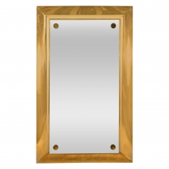 Large Mirror Mounted on Brass Platforms
