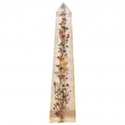 Pierre Giraudon Resin Obelisk with Flowers