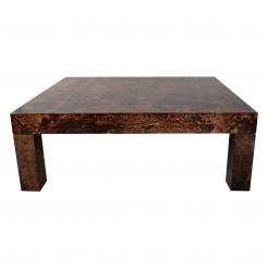 Aldo Tura cognac parchment coffee table