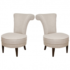 Pair of slipper chairs in linen