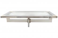 Romeo Rega Plexiglass, Chrome, and Glass Large Coffee Table