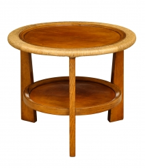 Side Table with Rattan and Jute Detail