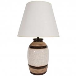 Large Brown and White Stripe Ceramic Lamp