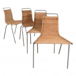Set of Four Poul Kjearholm (E. Kold Christiansen) PK1 Wicker Chairs