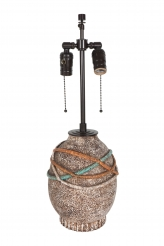 A Jean Besnard Ceramic Lamp with Cord Motif on a Flat Vertically Incised Base