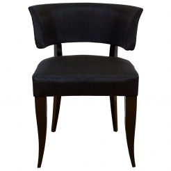 Upholstered Klismos Chair with Black Lacquered Legs