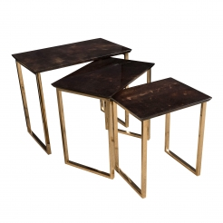 Set of Three Aldo Tura Parchment Rectangular Nesting Tables with Polished Bronze