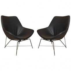 Pair of Black Leather Chairs by Augusto Bozzi for Fratelli Saporiti