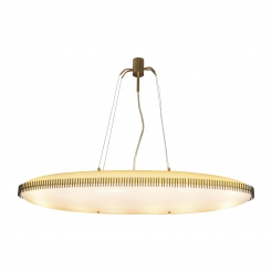 Rare Oval Suspension Light Fixture by Angelo Lelli for Arredoluce