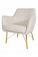 A Pair of Curved Backed Upholstered Chairs, 1960s style, with Bronze Legs