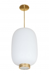 Stilnovo Italian White Glass Lantern Shape Pendant Light