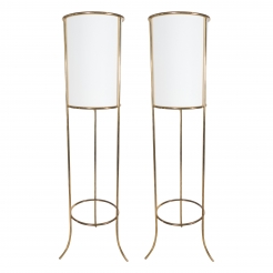 Pair of T.H. Robsjohn-Gibbings for Hansen Floor Brass Lamps