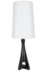 A Rare Roger Capron Black Sculptural Ceramic Table Lamp