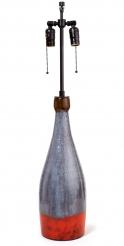 Ceramic Gray & Orange Lamp by Juliette Derel and Jean Rivier