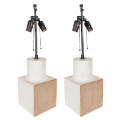 Pair of Bruno Gambone Ceramic Lamps