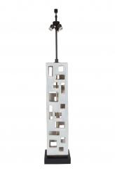 A Guido Gambone Tall Rectangular Pierced Ceramic White and Light Blue Table Lamp