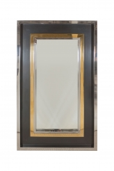 Maison Jansen Style Square Brass and Chromed Metal Mirror Frame with Mirror