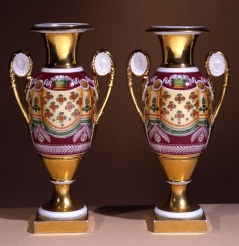 "Pair ""Old Paris"" Porcelain Vases with Drapery Decoration"