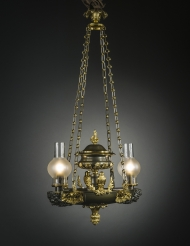 Two-Light Argand Chandelier with Birds