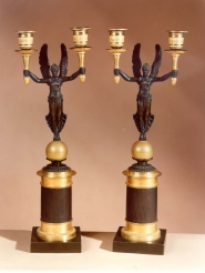 Pair Two-Arm Figural Candelabra in the Empire Taste